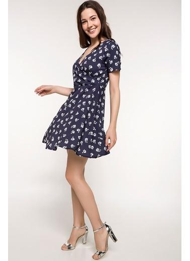 DeFacto Desenli Elbise Lacivert